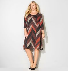 Shop comfortable new fall dresses in sizes 14-32 like the Chevron Sharkbite Hatchi Dress available online at avenue.com. Avenue Store