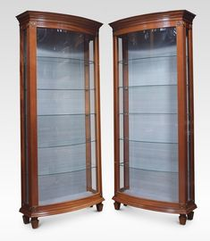 Pair Of Mahogany Bow Fronted Display Cabinets - Antiques Atlas Antique Display Cabinets, Cornice, Door Opener, Beveled Glass, Glass Shelves, Display Case, Glass Door, Locker Storage, Bows