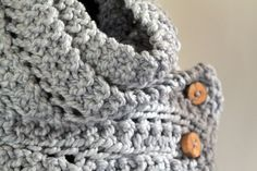 The Eleanor Scarf - Wool Blend Bulky Scarf with Reclaimed Wood Buttons - Pewter Light Grey