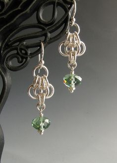 Butterfly Wing Chainmaille Earrings with Green by