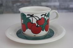 Set of 2 Kirsikka Cherry pattern coffee cups  by FinnishTreasures I own these sweet things <3