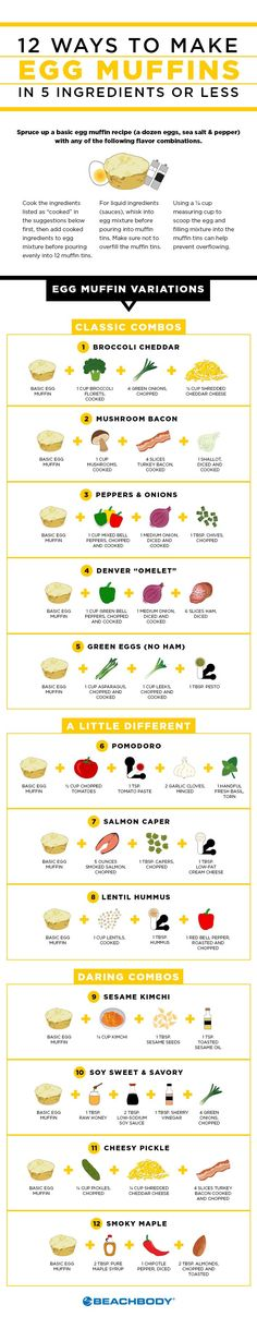 Now you can have your eggs and eat them, too. In a portable and healthy fashion. All it takes is a little advanced meal prep over the weekend, and you can have pre-made, portion-controlled savory egg breakfasts to go. Part muffin, part frittata and all delicious, these healthier spins on the eggwich will help you start your workday right. recipes // nutrition // healthy // meal prep // breakfast // egg // muffins // Beachbody // BeachbodyBlog.com