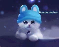 Lindo gatito con gorro un azul te desea una Buenas noches