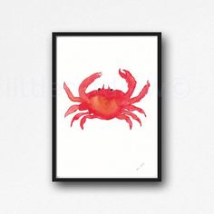 Red Crab, an original illustration by Littlecatdraw.  PRINT ONLY. FRAME NOT INCLUDED. This an archival print from my original watercolor