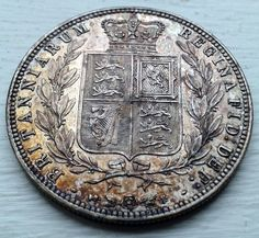 1874 QUEEN VICTORIA GREAT BRITAIN SILVER 1/2 HALFCROWN HALF CROWN COIN VG