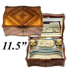 RARE Antique French Sewing & Vanity Box, Chest, Perfumes in Eglomise Paris views of Grand Tour, Kingwood