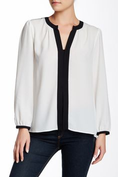 Contrast Trim Blouse by Vince Camuto on @nordstrom_rack