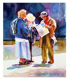 """Still looking by Graham Berry Watercolor ~ 11"""" x 9"""""""