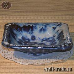 Керамическая квадратная тарелка Морской прибой для салатов, закусок, нарезки, конфет, печенья купить в интернет-магазине #рукоделец #магазин #handmade #керамика #тарелка #ручная_работа #pottery