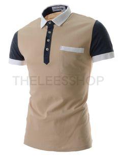 (DMST01-BEIGE) Mens Slim Fit Stretchy Collar Neck Chest Pocket Short Sleeve Tshirts