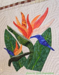 close up, Aloha Garden by Jan Millner, 2014 River City Quilters Guild show (Sacramento, CA), photo by Quilt Inspiration.  Design by Pearl Pereira. Hand appliqued, machine quilted.