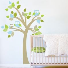 1 Tree with owls - Kids Wall Stickers, Nursery Wall Decals + fun room accessories! - Leafy Dreams Nursery Decals