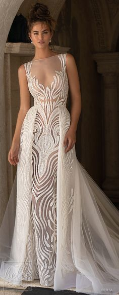 The Chic Technique: BERTA Spring 2019 Wedding Dresses Miami Bridal Collection. Illusion bateau deep plunging v neckline embellished wedding dress. A line glamorous bridal gown with over skirt. Sheath Wedding Gown, Wedding Gowns, Modest Wedding, Wedding Ceremony, Dresses Elegant, Spring Dresses, Long Dresses, Evening Dresses, Beautiful Gowns