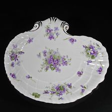 Hammersley Victorian Violets Candy Serving Dish Shell Shaped Purple White 11202