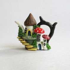 mystical fairies house creations with polymer clay   Miniature Fairy Hobbit Cluster House Teapot by ArtisticSpirit