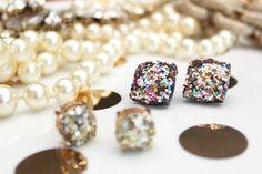 Kate Spade hack | easy DIY jewelry | glitter earrings