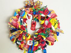 Disney Lightning McQueen Cars Balloon Wreath for by SeaFeverSales, $35.00