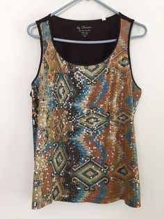 db1d998a822 SZ L CHICOS Shimmery Sequined Tank Top Sleeveless Southwest Patterns