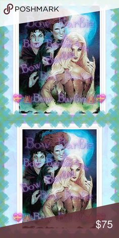 "💙🌙""Sanderson Sisters Moonlit Night"" Art Work🌙💙 💙🌙Hocus Pocus "" Sanderson Sisters Moonlit Night "" Mary, Winifred & Sarah Sanderson Sisters🌙💙Hocus Pocus Art Print 💜 Halloween Artwork💝 Disney✨Painted Wall Art Print💋🖤Movie  💟😃Art print created by me!😍Purchase & receive a HIGH QUALITY 8"" X 11 {Letter} SIZE~art print of my original creation!☺️  💋Print unframed~Frame=$10❤️  💄Perfect for wall decor, bedrooms, bathrooms, closets,next to your vanity,table tops,or spruce up your office…"