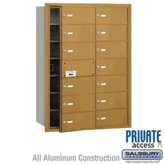 14 Door Usable) Horizontal Mailbox Gold Front Loading B Doors Private Access Security Mailbox, Safety And Security, Commercial Mailboxes, Gold Fronts, Home Safety, Locker Storage, Doors, Collection, Home Decor