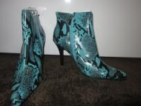 New Blue Snakeskin Boots Ladies Size 8