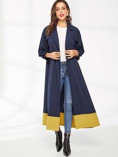 Contrast Belt and Hem Duster Coat | SHEIN