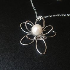 Wire Flower with Pearl Necklace, Sterling Silver Necklace, Bridesmaid Gifts, Birthday Gift, Wedding Jewelry, Bridesmaid Necklace, $27