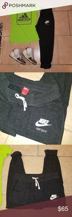 😄Adidas & Nike Bundle With Nike Dunks Adidas shirt size M never worn Nike sweats size L worn once Nike Dunks size 7.5 Had them for about 10 years so they are worn but so much life left and colors go with everything.. Will be cleaned and new laces put in Everything for bundle is $65 Nike Pants Track Pants & Joggers