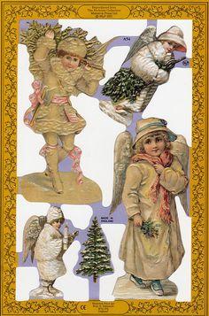 Victorian Christmas Children Paper Scraps