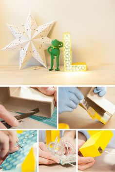 Letra luminosa de cartón ➜ Tu inicial, una palabra que te guste o un mensaje divertido. Decorar con letras tiene muchas posibilidades.  #DIY #Manualidades #Letras #Cartón #Luces