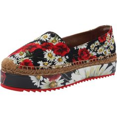 Dolce & Gabbana  Floral Platform Espadrille (25.245 RUB) ❤ liked on Polyvore featuring shoes, sandals, flatform platform sandals, floral platform sandals, flatform espadrilles, flatform sandals and dolce gabbana sandals