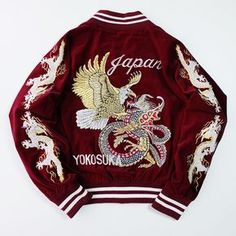 Japanese Japan VINTAGE Yokosuka Eagle Dragon Ryu Battle Gold Velveteen Sukajan Souvenir Jacket - Japan Lover Me Store