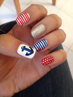 4th July Sailor nails #gelish