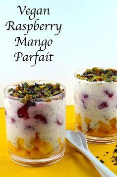 Vegan raspberry mango parfait