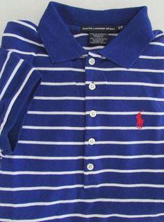 NWT Ralph Lauren  Sport Polo Short Sleeve Mesh Shirt Blue White Striped Size S  #RalphLauren #PoloShirt