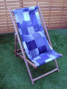 Denim deckchair: Pre-loved jeans made into sturdy panel from vintage frame.