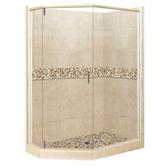 American Bath Factory Mesa Medium with Mesa Mosaic Tiles Sistine Stone Wall Stone Composite Floor Neo-Angle 10-Piece Corner Shower Kit (Actual: 80-in x 36-in x 48-in)