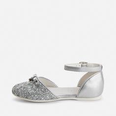 Zapatos de niña abiertos purpurina y hebilla Plata - Mayoral