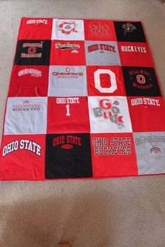 Ohio State T-Shirt Quilt.... i think I would add borders to keep a clean look
