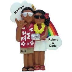 African-American Couple Honeymoon Newlyweds Ornament