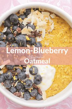 "Lemon-Blueberry Turmeric Oatmeal - Turmeric Oatmeal has so many health benefits. But if you've ever tried ""sneaking"" it in to your favourite foods, you will find it is a pretty hard spice to hide... So today's recipe will show you how to hide that bitter taste and why you might want to start adding Turmeric to your diet today!"