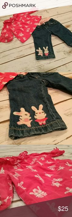 Rabbit boho two piece So seventies. Jeans with a matching smock top. Gorgeous. gmboree Matching Sets