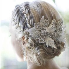 Bridal Hair - 25 Wedding Upstyles & Updo's - An enchanting side braided upstyle with dazzling hair accessory creates an ethereal look Would also be pretty for bridesmaids (minus the hair piece). Up Hairstyles, Pretty Hairstyles, Bridal Hairstyles, Hairstyle Ideas, Medium Hairstyles, Short Haircuts, Winter Wedding Hairstyles, Bridesmaid Hairstyles, Hairstyle Wedding