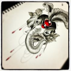 Elephant tattoo - drawing is © a very talented photographer and drawer, Neil Clarke.