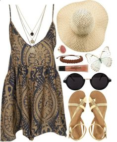 Fun summer outfit...love the gold and navy dress!
