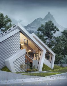 Mountain Concrete House Pentahouse by Wamhouse Studio Karina Wiciak of Wamhouse studio has imagined a family home inspired by the contours of a mountain peak. With this concept in mind, and as the name Mountain Concrete House Model Architecture, Architecture Design Concept, Architecture Sketchbook, Studios Architecture, Unique Architecture, Architecture Portfolio, Futuristic Architecture, Residential Architecture, Interior Architecture