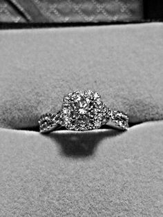 Nice cushion style halo engagement ring with round cut center diamond and twisted band. my ring! Wedding Ring For Her, My Perfect Wedding, Wedding Bands, Dream Wedding, Wedding Things, Wedding Stuff, Dream Engagement Rings, Wedding Engagement, Engagement Hairstyles