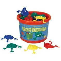 Frog Hoppers Game by Viking Toys. Helps with hand strength needed for writing later on. My boys and I love to play a game with these - who can first get all of their colored frogs into the bucket. Good times with building skills.
