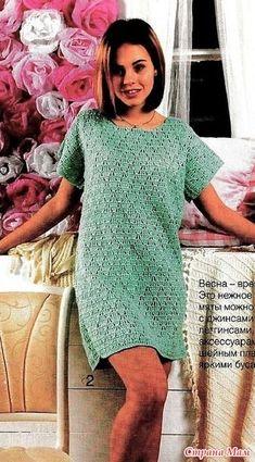 Это прелестное платье цвета мяты можно носить и как тунику с джинсами или леггинсами. Его можно дополнить любыми аксессуарами-поясом шейнвм платком или яркими бусами. «ВЯЖЕМ КРЮЧКОМ №3 (2017)»