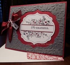 red and gray label card